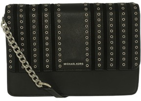 Michael Kors Women's Large Brooklyn Grommet Leather Crossbody Leather Cross Body Bag - Black - BLACK - STYLE