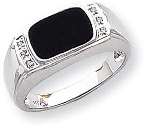 Ice 14k White Gold Onyx & A Quality Diamond Mens Ring