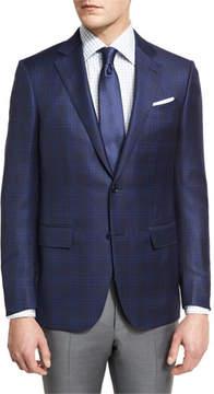 Ermenegildo Zegna Tonal Plaid Two-Button Sport Coat, Navy