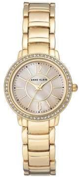 Anne Klein Goldtone Crystal-Accented Pink Mother-of-Pearl Dial Bracelet Watch