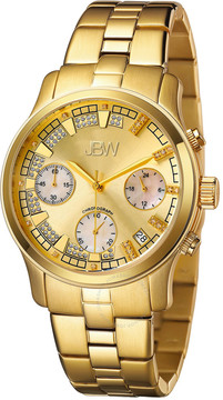 JBW Alessandra Gold-tone Diamond Chronograph Dial Gold-tone Steel Bracelet Ladies Watch