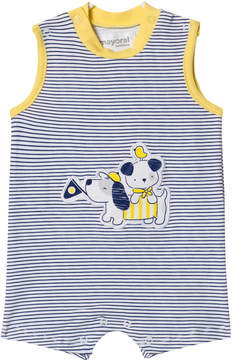 Mayoral Navy Stripe Dog Applique Sleeveless Romper