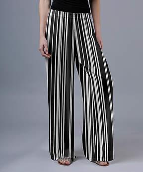 Lily Black & White Zebra Palazzo Pants - Women & Plus