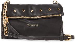 Longchamp Black Paris Rocks Foldover Leather Crossbody