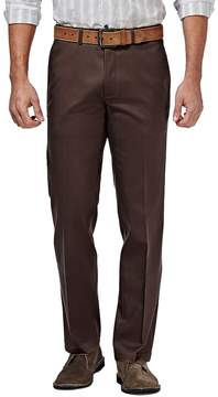 Haggar Men's Premium No Iron Khaki Stretch Straight-Fit Flat-Front Pants