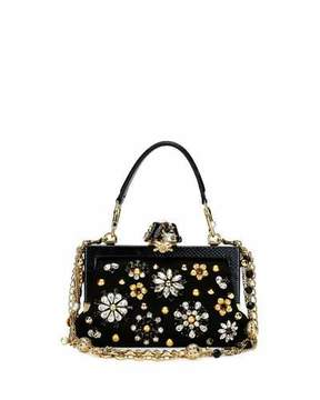 Dolce & Gabbana Vanda Small Jeweled Top-Handle Evening Bag, Black - BLACK - STYLE
