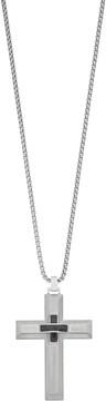 Lynx Men's Stainless Steel & Carbon Fiber Cross Pendant Necklace