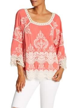 Democracy 3/4 Length Sleeve Cold Shoulder Crochet Blouse