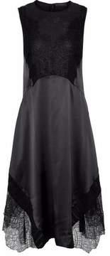 Belstaff Corded Lace-Paneled Chiffon-Trimmed Silk-Satin Dress