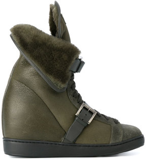 Santoni concealed heel shearling boots