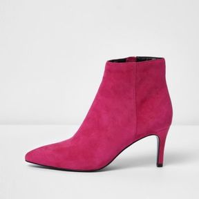 River Island Womens Pink suede pointed kitten heel boots