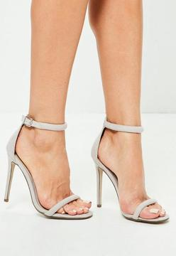 Missguided Grey Strap Barely There Heels
