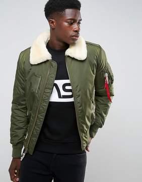 Alpha Industries Bomber Jacket Shearling Collar in Dark Green