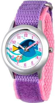 Disney Finding Dory, Nemo and Dory Girls' Stainless Steel Time Teacher Watch, Purple Bezel, Purple Hook and Loop Nylon Strap with Pink Backing
