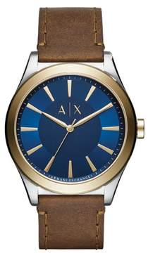 Armani Exchange Nico Two-Tone Leather Strap Watch, 44mm