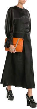 Emilia Wickstead Silk Satin Dress with Chiffon Sleeves