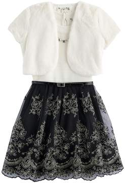 Knitworks Girls 7-16 & Plus Size Faux-Fur Bolero & Belted Textured Skater Dress with Necklace