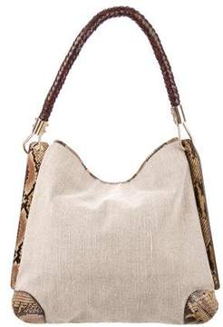 Michael Kors Snakeskin-Accented Canvas Hobo - ANIMAL PRINT - STYLE