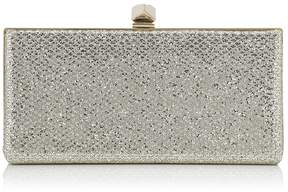 Jimmy Choo CELESTE/S Champagne Glitter Fabric Clutch Bag with Cube Clasp
