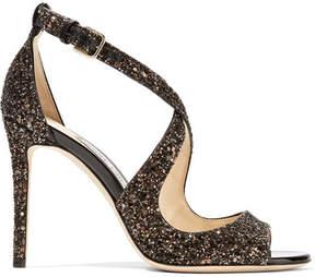 Jimmy Choo Emily 100 Glittered Leather Sandals - Bronze