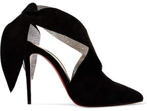 Christian Louboutin Roland Mouret Ramour 100 Suede And Metallic Textured-leather Pumps - Black