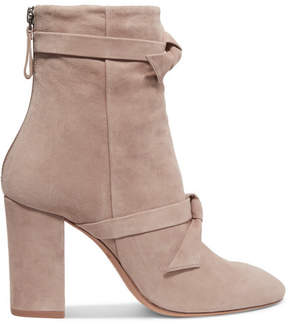 Alexandre Birman Lorraine Knotted Suede Ankle Boots - Beige