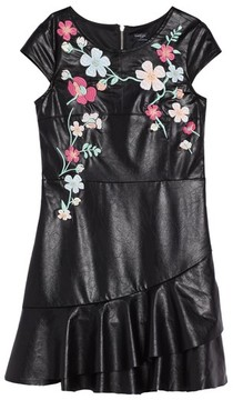 Bebe Girl's Embroidered Faux Leather Dress