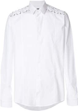 Les Hommes lace-detail long-sleeve shirt