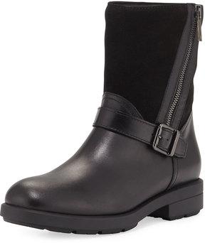 Aquatalia Laura Mixed Leather Zip Boot, Black