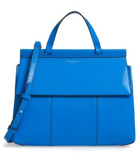 Tory Burch Block T Leather Top Handle Satchel - Blue - BLUE - STYLE
