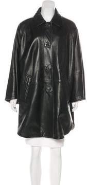 Aquascutum London Leather Knee-Length Coat