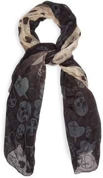 Alexander McQueen Skull and heart-print semi-sheer scarf