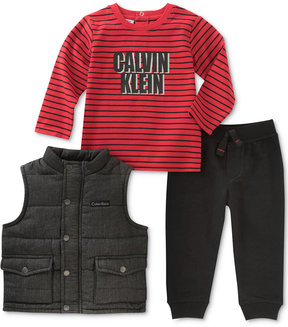 Calvin Klein 3-Pc. Chambray Vest, Logo T-Shirt & Pants Set, Baby Boys (0-24 months)
