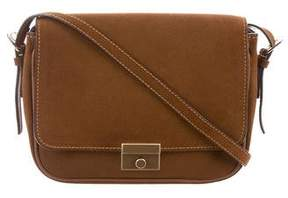 Valextra Leather-Trimmed Suede Bag