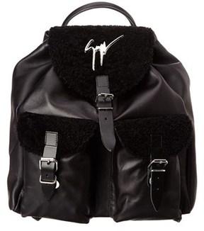 Giuseppe Zanotti Shearling & Leather Backpack.
