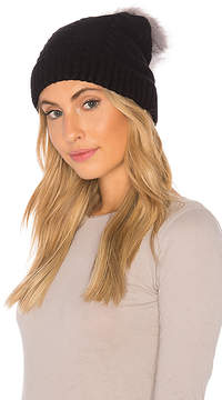 Plush Vegan Cashmere Beanie With Faux Fur Pom