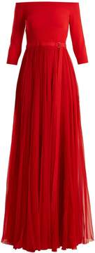Alexander McQueen Off-the-shoulder stretch-knit and silk gown