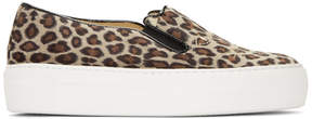 Charlotte Olympia Tan Leopard Cool Cats Slip-On Sneakers