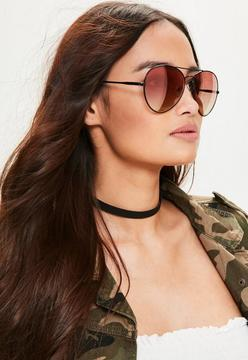Missguided Black Tapered Red Lens Aviator Sunglasses