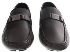 Roberto Cavalli Espresso Leather Loafers Man Leather Shoes.