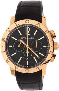Bvlgari Black Dial Black Alligator Leather Strap Chronograph Men's Watch