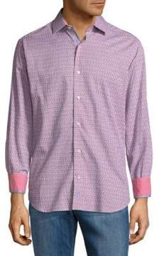 Tailorbyrd Zig Zag Cotton Button-Down Shirt