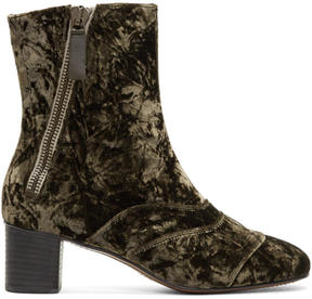Chloé Brown Velvet Lexie Boots