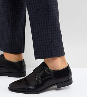Asos Wide Fit Monk Shoes In Black Faux Leather With Emboss Panel