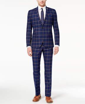 Nick Graham Men's Slim-Fit Stretch Navy/Gold Windowpane Suit