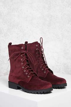 Forever 21 Faux Suede Combat Boots