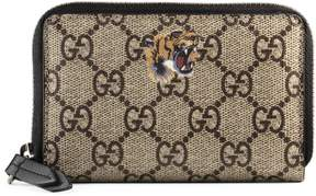 Tiger print GG Supreme zip card case