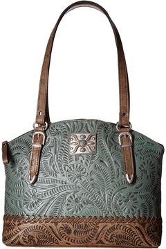 American West Annie's Secret Zip Top Half Moon Tote w/ Secret Compartment Tote Handbags