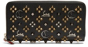 Christian Louboutin Panettone Embellished Zip Around Leather Wallet - Womens - Black Gold