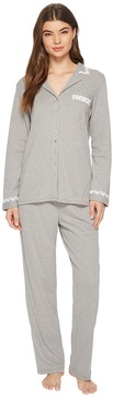 Eileen West Heather Interlock Notch Collar Pajama Women's Pajama Sets
